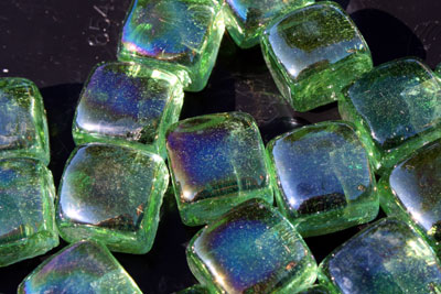 aqua green glass cubes 1